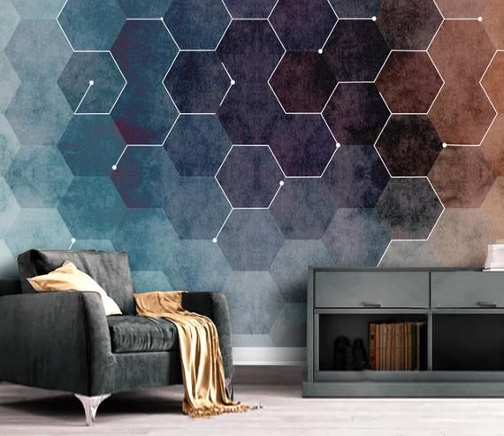 Dark Hexagon Geometric Wallpaper Self Adhesive Peel And Stick Etsy Geometric Wallpaper Living Room Geometric Wallpaper Removable Wallpaper