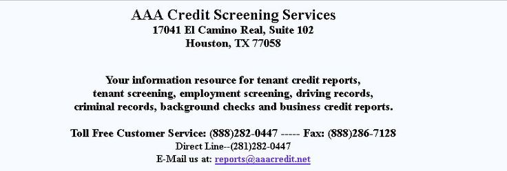 AAA Credit Screening Services has been awarded an A+ Gold Star Rating by the Better Business Bureau for being a leading tenant screening and background checking company in the USA.  AAA Credit is offering cost effective solutions to employers, property managers, realtors, and landlords.  The company has provided tenant screening as well as pre-employment background checking services for more than 19 years. It is composed of professional and highly experienced background screeners that…