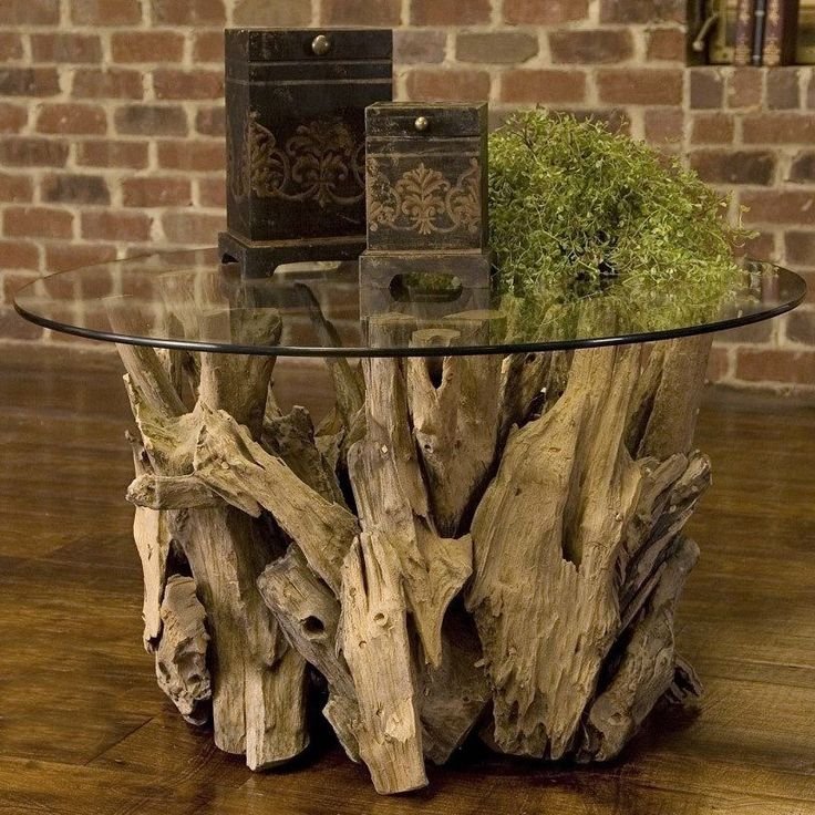 Modern Coffee Table Unique Rustic Design Wood Glass Coctail Home Furniture Round #Modern