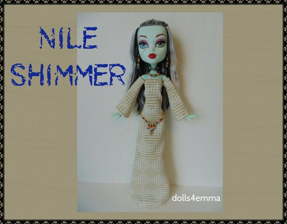VERKOOP - Monster High 17-inch Doll kleding - Egypte jurk + riem + sieraden - handgemaakte aangepaste Egyptische fashion door dolls4emma