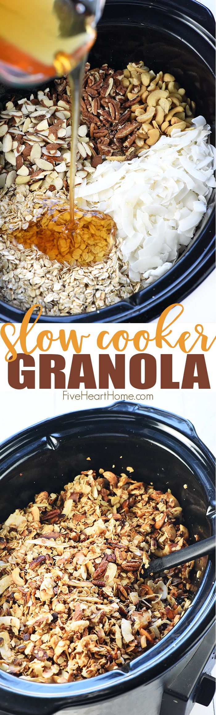 Slow Cooker Granola ~ a combination of oats, nuts, coconut, coconut oil, and honey effortlessly cook in the crock pot for a crunchy, wholesome breakfast or snack! | FiveHeartHome.com