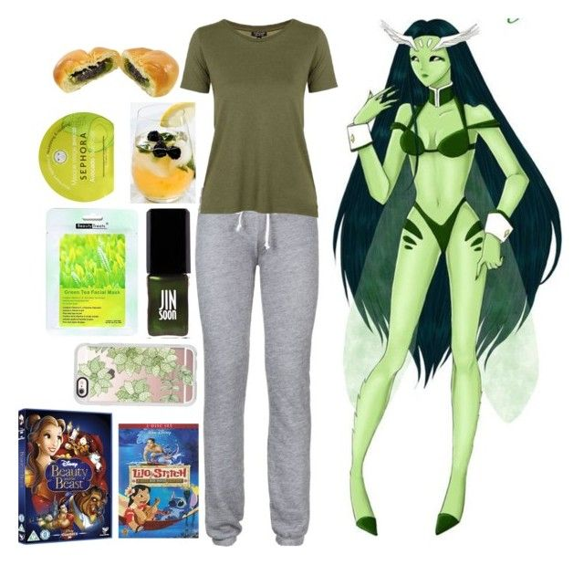"""Pretty Soldier Sailor Moon Dark Kingdom Sleepover: Green DD Girl"" by becka-ramey ❤ liked on Polyvore featuring Wildfox, Elfa, Topshop, JINsoon, Sephora Collection and Casetify"