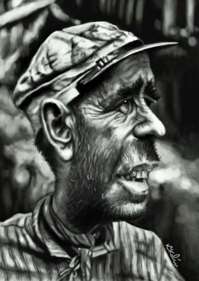 Caricatura de Humphrey Bogart como Charlie Allnut en La Reina de África.