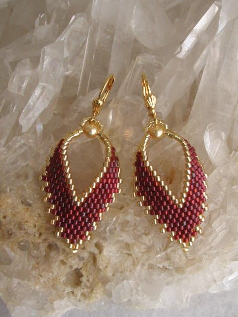 Russian Leaf Earrings Made To Order Garnet by pattimacs on Etsy, $20.00