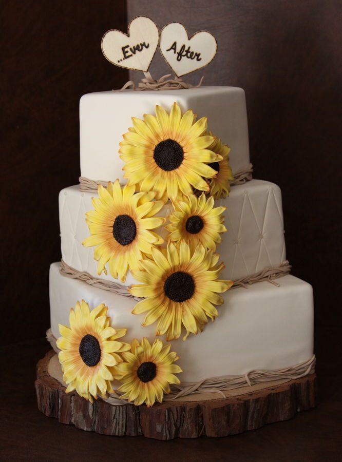 Sunflower Wedding Cake — Square Wedding Cakes