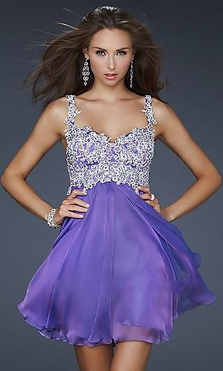 A-Line Jewel Lilac Chiffon Dress #dress #fashion #clothes