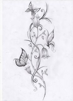 butterfly and star tattoos | Vine Flowers And Butterfly Tattoo Design