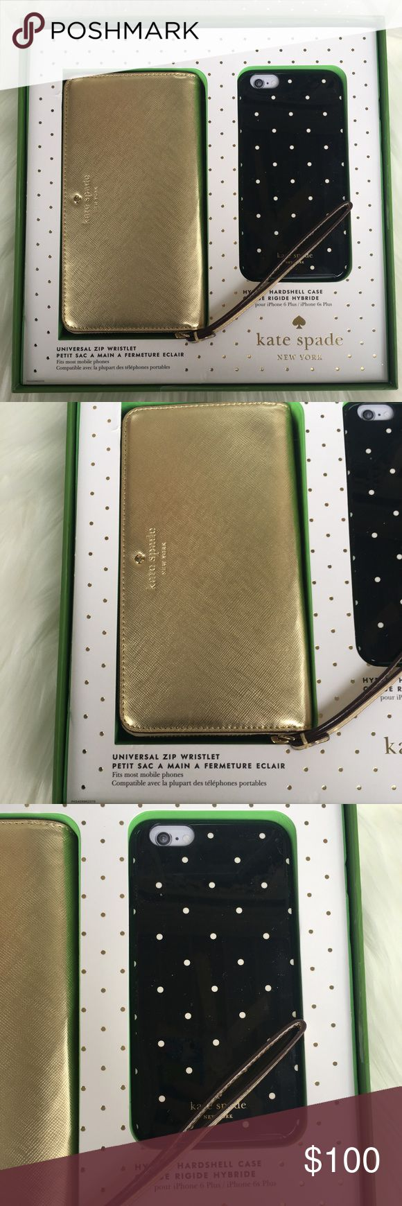 Kate Spade Zip Wristlet & 6/6s Case Gift Set Kate Spade Gift Set With Zip Wristlet & 6/6s Case. NEW IN BOX. Adorable universal zip wristlet that fits most mobile phones. Also includes a hybrid hard shell case for and iPhone 6plus or 6s plus. Great gift for anyone in your life. kate spade Bags Clutches & Wristlets
