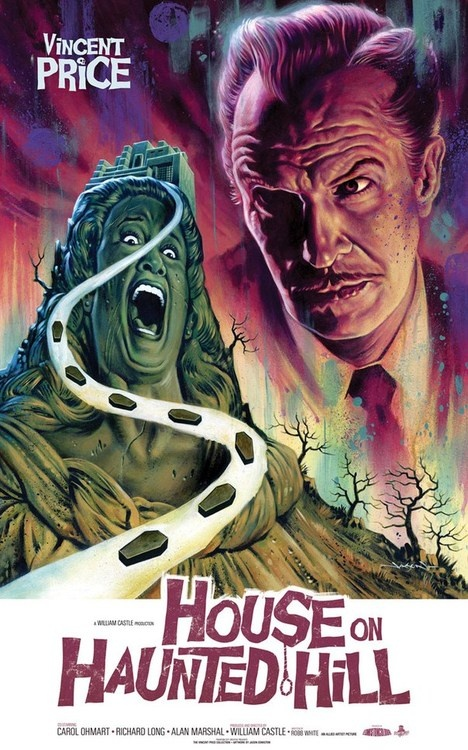 House on Haunted Hill (1959). When the blind care taker came at Nora Sue I screamed and woke my mom up .. she made us go to bed .. I think I was around 6 years old .. and this movie stuck in my head .. lol