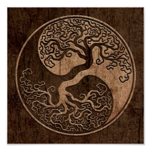 Yin and yang integrated with a tree design. This poster is beautiful.