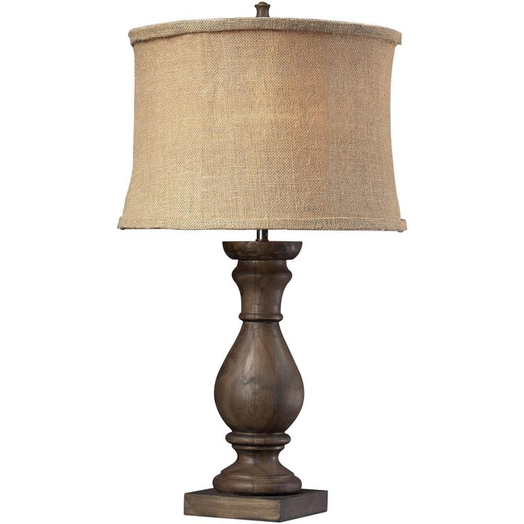 Lovecup PISGAH WOODEN TABLE LAMP FEATURES BURLAP FABRIC SHADE AND MATCHING LINER SALE ITEM