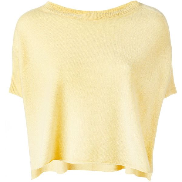 Kristensen Du Nord knitted T-shirt (1.064.505 COP) ❤ liked on Polyvore featuring tops, t-shirts, bamboo t shirts, beige top, cashmere top, cashmere t shirt and bamboo tee
