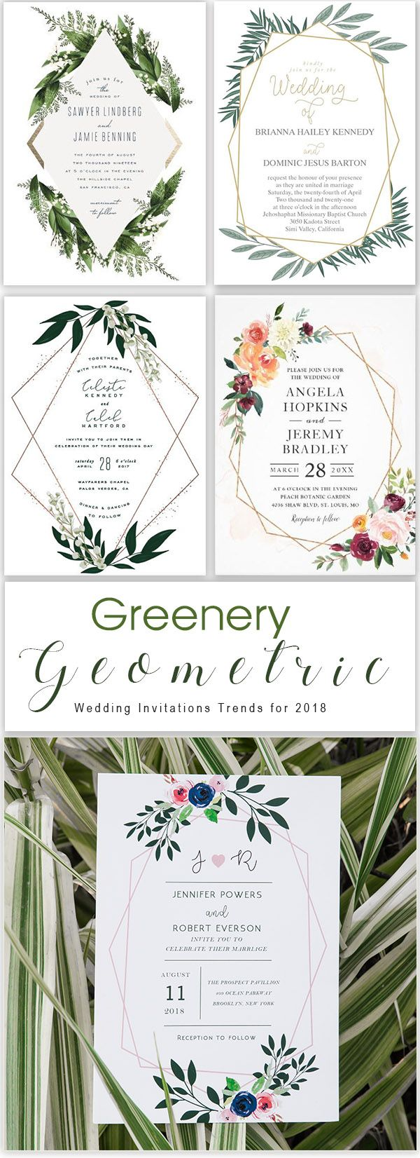 Stylish Wedding Invitations Decorated with Floral Greenery for 2018 Trends