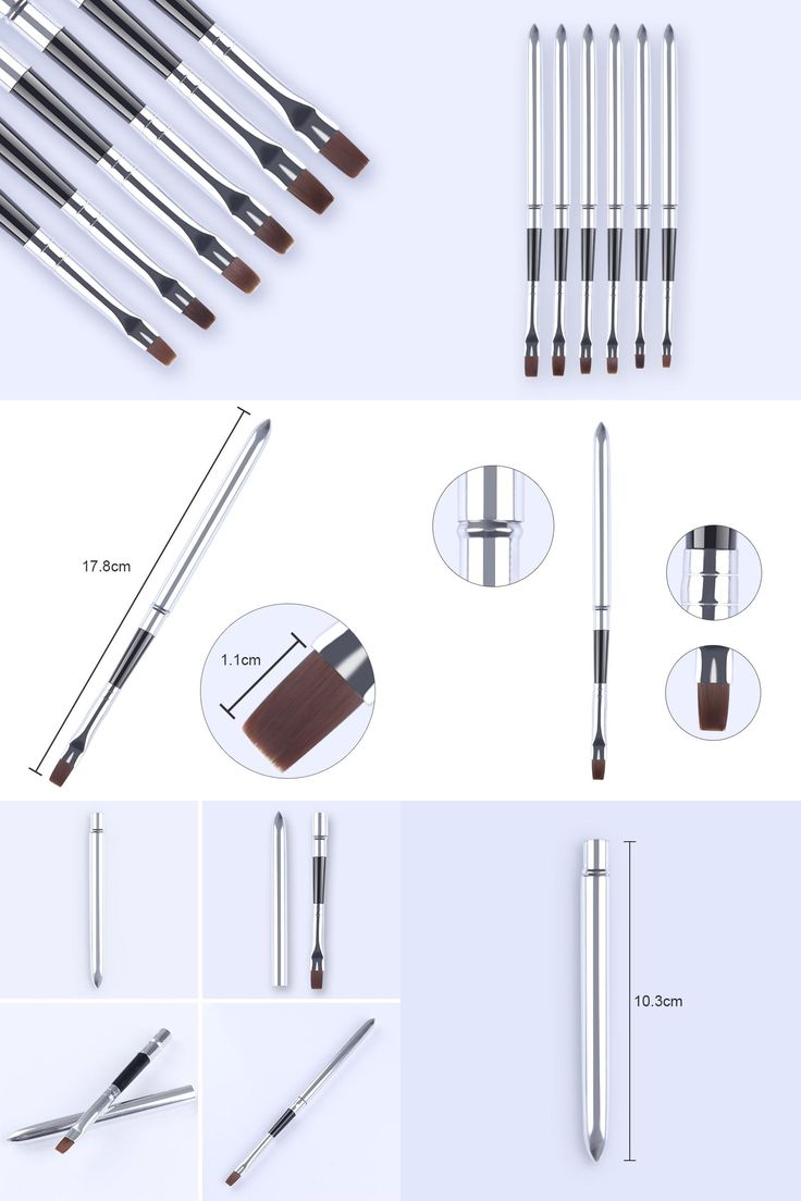 [Visit to Buy] 6Pcs UV Gel Nail Brushes Set Painting ...