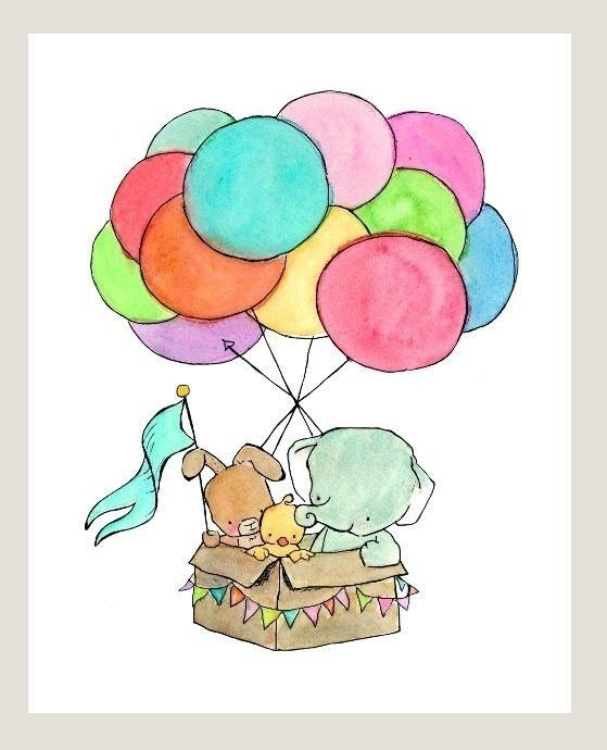 Elephant, Bunny, and Chick Hot Air Balloon nursery print