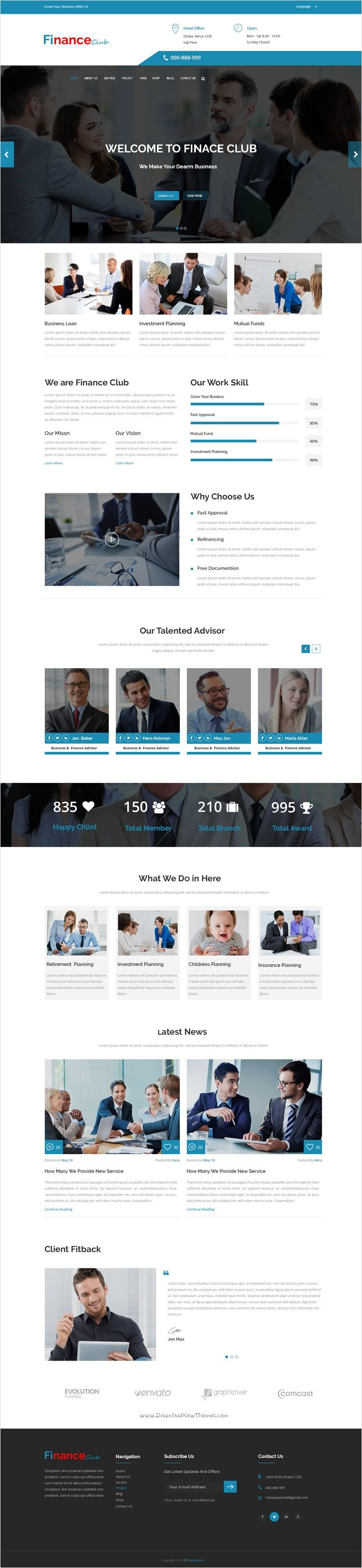 Finance Club is a clean and Modern #PSD #Template for #corporate #website like Financial Advisor, Accountant, Consulting Firms, insurance, loan, tax help, Investment firm etc with 2 homepage layouts and 17 organized PSD pages download now➩ https://themeforest.net/item/finance-club-finance-business-psd-template-/17113959?ref=Datasata