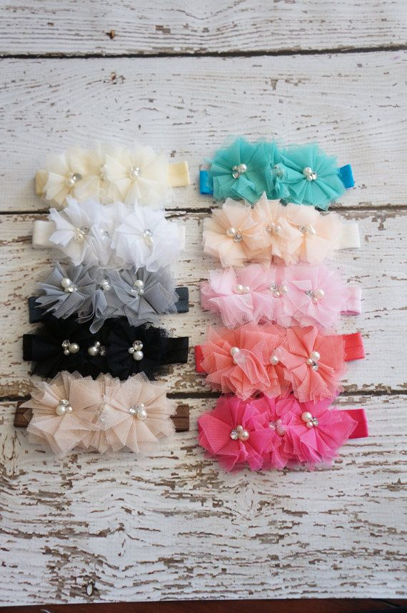 3 tier Cluster Tulle Baby Headband - Choose form 10 colors  - lace Flower headband via Etsy