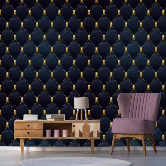 Art Deco Geometric Wallpaper In Navy Blue Gold Removable Etsy Grey And Gold Wallpaper Geometric Wallpaper Grey Lattice Wallpaper
