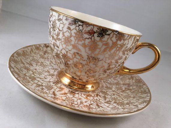 Vintage Eggshell Nautilus Teacup & Saucer in Golden Fleece Pattern