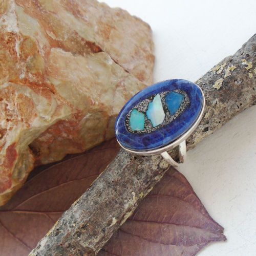 Afrikanischer-Opal-in-Sodalith-Ring-20-0-mm-925-Sterling-Silber