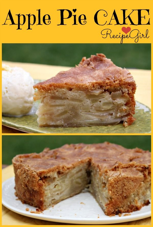 Apple Pie Cake Recipe from RecipeGirl.com #fall #baking #apples