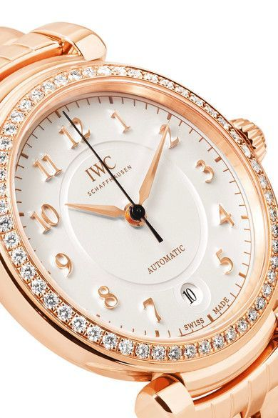 Shop IWC SCHAFFHAUSEN Da Vinci Automatic 36 18-karat red gold diamond watch
