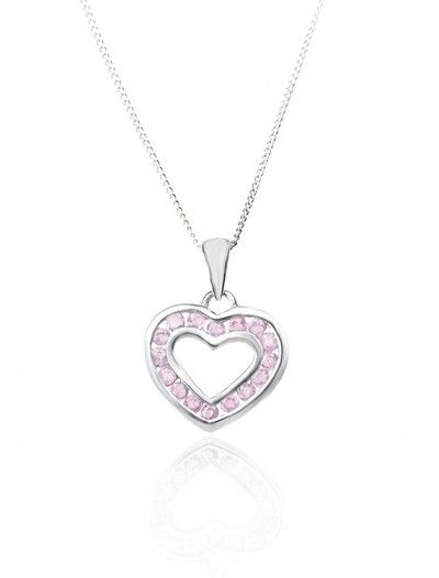 White Gold Pink Sapphire Heart Pendant & Chain - Available at Onyx Goldsmiths