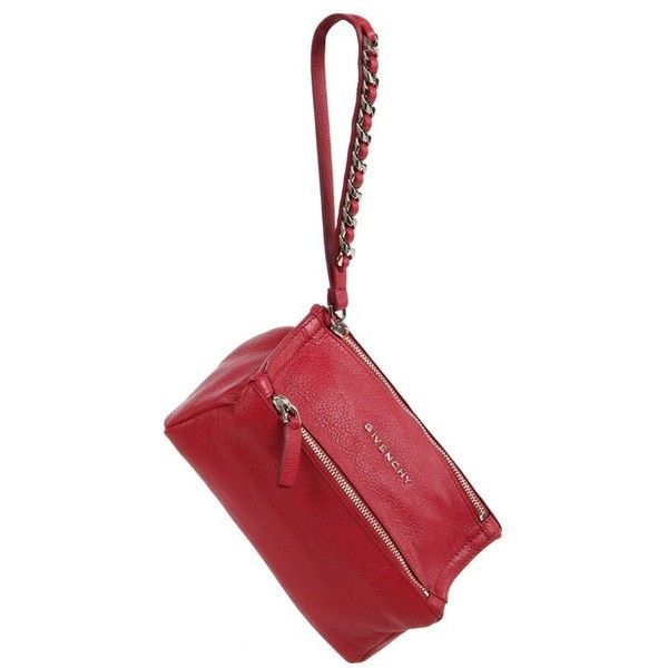 Givenchy Pandora Leather Wristlet Pouch (£535) ❤ liked on Polyvore featuring bags, handbags, clutches, red, white handbags, red leather purse, red leather handbags, red handbags and wristlet clutches