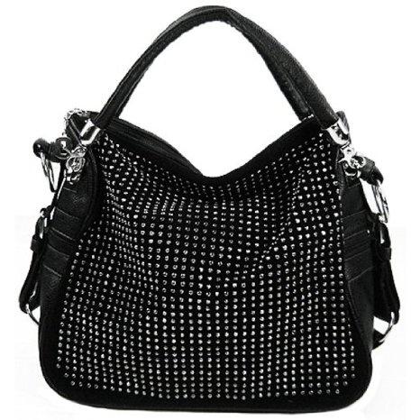 Amazon.com: BENOITE Black Rhinestones Embellished Soft ...