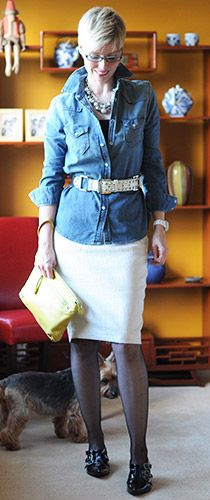 Denim Shirt with Dressy Skirt