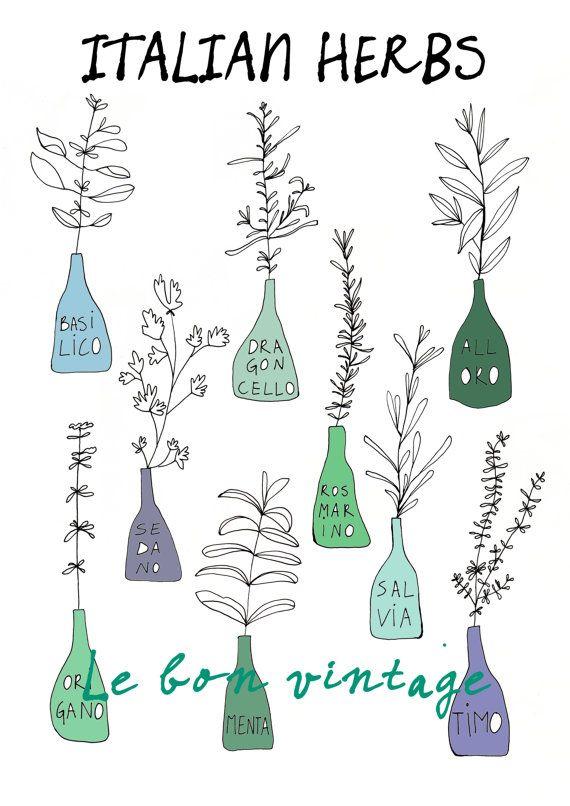 Italian kitchen herbs food print free shipping door lebonvintage, $16.50