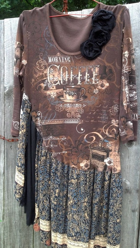 Coffee date dress made from recycled clothes by beamoorecreative, $35.00