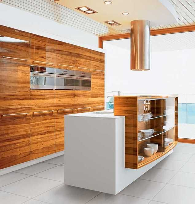 contemporary kitchen island design in white and brown colors