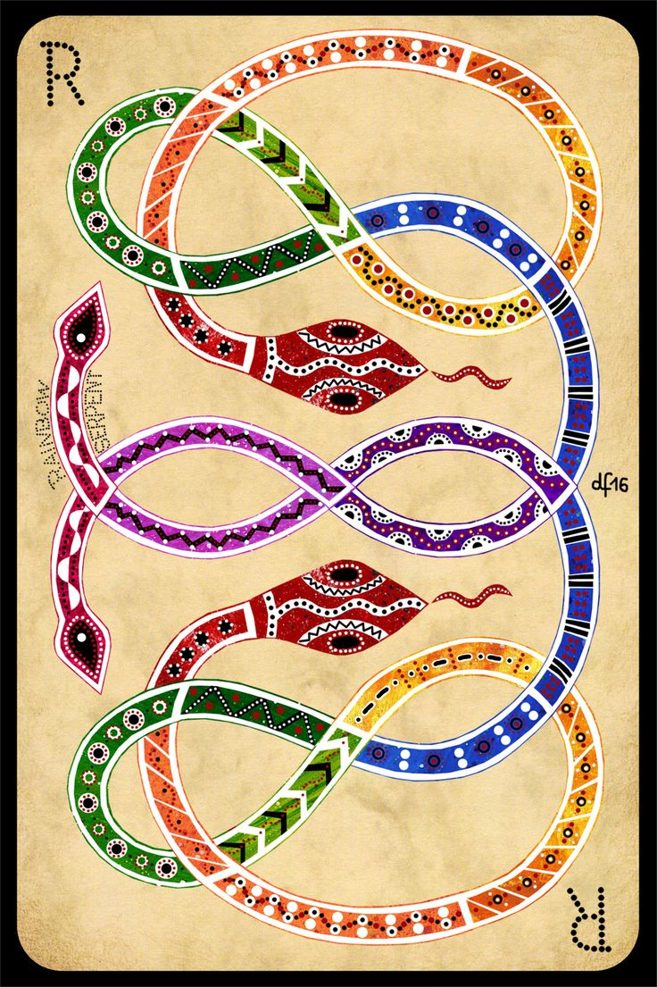 R is for Rainbow Serpent +++ What is the Serpent's message to the world? +++ illustration by Daniela Faber 2016 +++ mythology mythical creature snake aboriginals Australian old deity red orange yellow green blue lilac purple