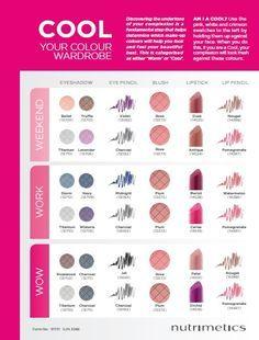 Nutrimetics eye shadow and lipstick color selection