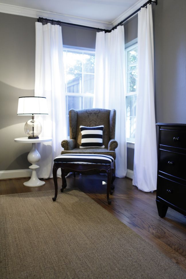 Exactly what i want to do for the office with my black furniture white curtains but maybe a little darker color grey.  Love the gray combo with the white and blue-and the floors. I think this might be our remolded bedroom.