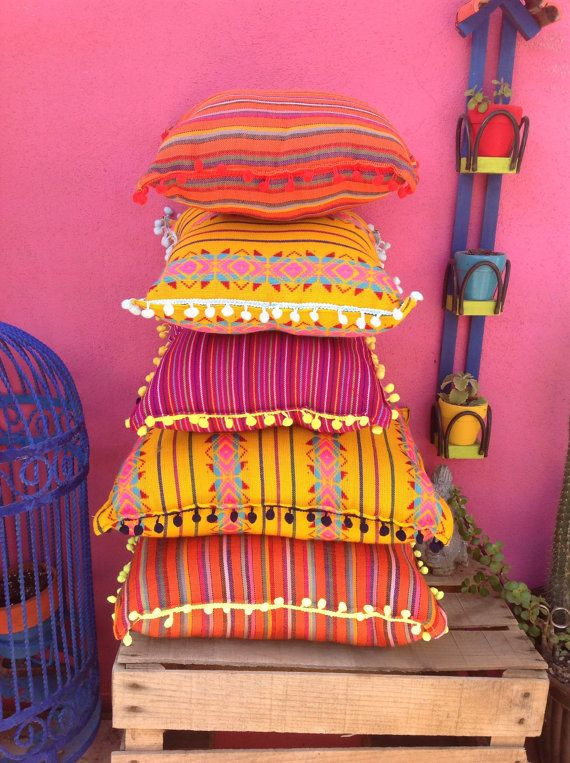 Handmade mexican throw pillows, vibrant print pillows with pompom trim, mexican fabric pompom throw pillows