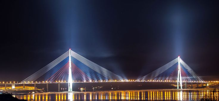 Russky Bridge, Russia - World's longest multi-span cable-stayed bridge (2012) . . . Between Vladivostock and Russky Island, Russia.  1,104 Meters, 3,622 Feet.