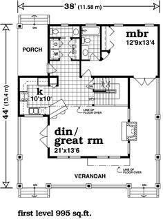 First Floor Plan of Farmhouse  House Plan 55028