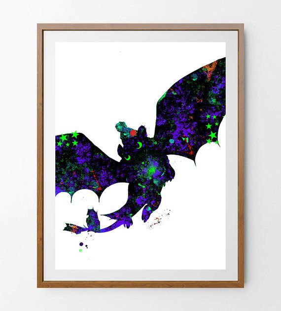 Toothless Print How to Train your Dragon Toothless Watercolor Print, Hiccup and Toothless Wall Art Home Decor Toothless Illustration [NO 2]