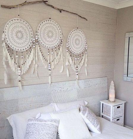 Crochet blanc et beige dreamcatcher
