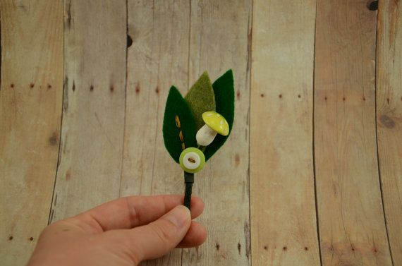 woodland life mushroom boutonniere made from by FuzzyRose on Etsy