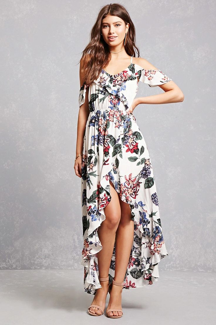 A textured woven high-low dress featuring an allover repetitious large floral motif, a self-tie halter neck closure, a V-neckline, open shoulders, short sleeves, an elasticized waist, a faux wrap design, a split back, and ruffle trim.<p>- This is an independent brand and not a Forever 21 branded item.</p>