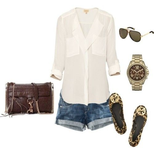 .: Summer Looks, Casual Summer, Summer Style, White Shirts, Cute Summer Outfit, Tory Burch, Leopards Prints, Jeans Shorts, Summer Clothing