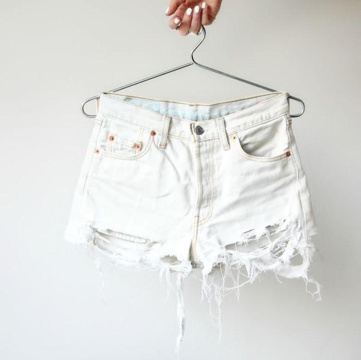 DIY ripped white shorts via Love Aesthetics Blog