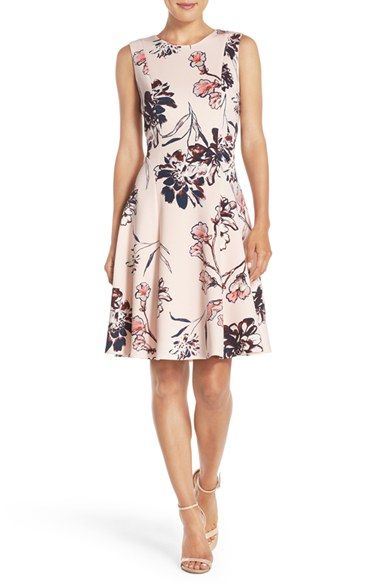Free shipping and returns on Ivanka Trump Floral Print Scuba Fit & Flare Dress at Nordstrom.com. A modified basque waist is part of the…