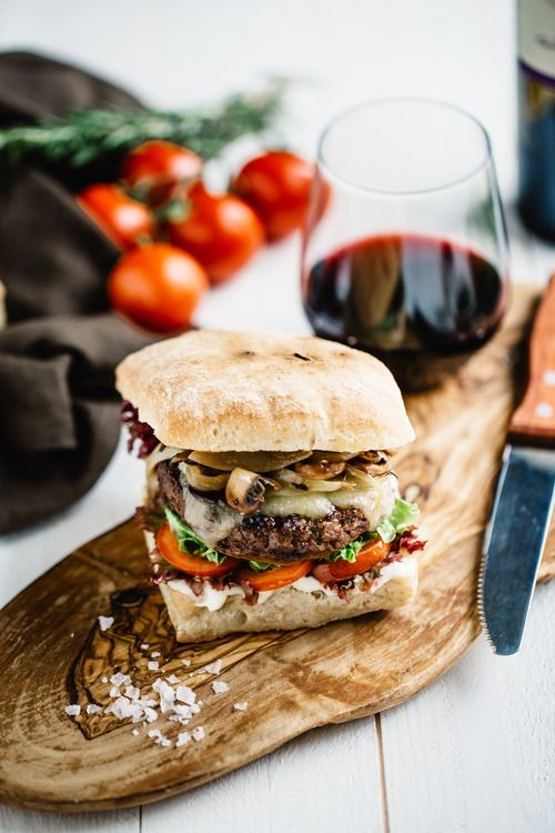 Chorizo Burger with Grilled Mushroom and Havarti Cheese paired with Murphy-Goode Cabernet
