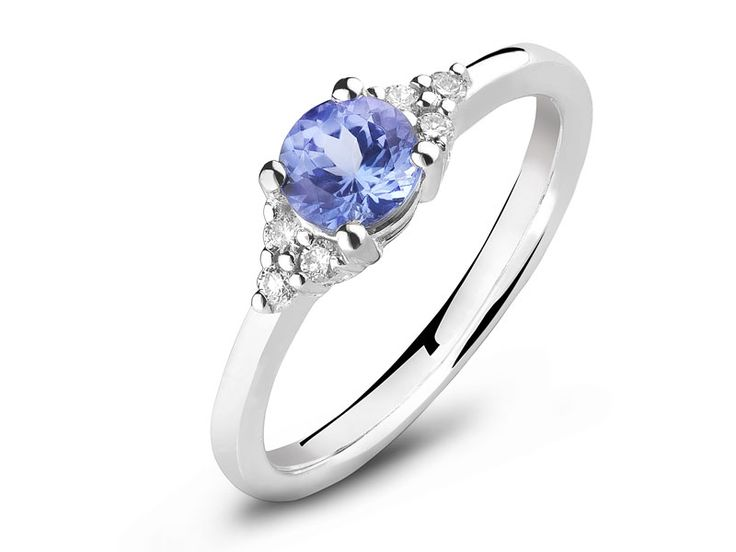 Apart - Diamenty, brylanty, pierścionki zaręczynowe - Pierścionek z białego złota z brylantami i tanzanitem