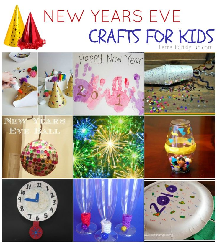 A grouping of New Years Eve crafts for kids, toddlers and preschoolers. Easy crafts for new years eve.