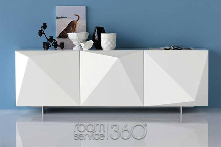 Kayak Modern Buffet in White High Gloss Lacquer by Cattelan Italia